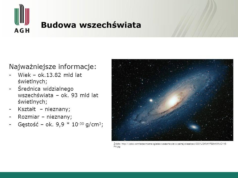 Budowa wszechświata Najważniejsze informacje:
