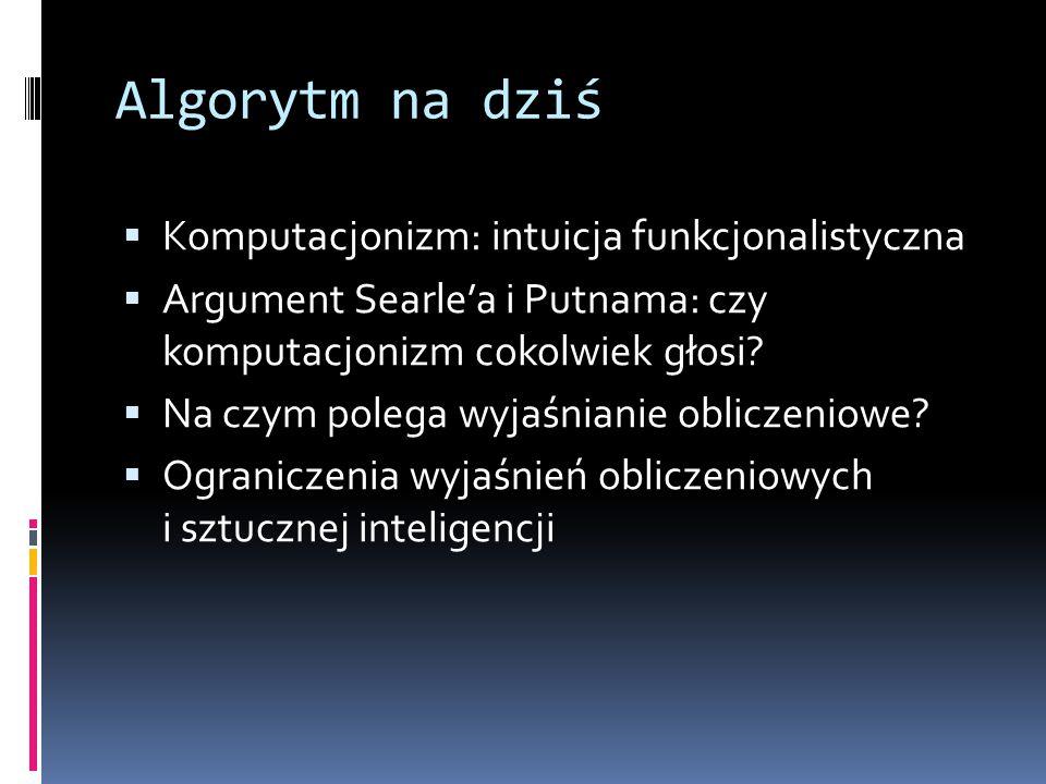 Algorytm na dziś Komputacjonizm: intuicja funkcjonalistyczna