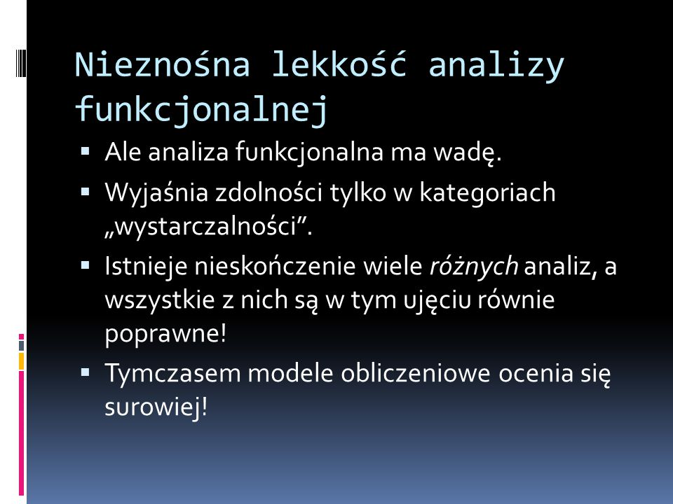 Nieznośna lekkość analizy funkcjonalnej