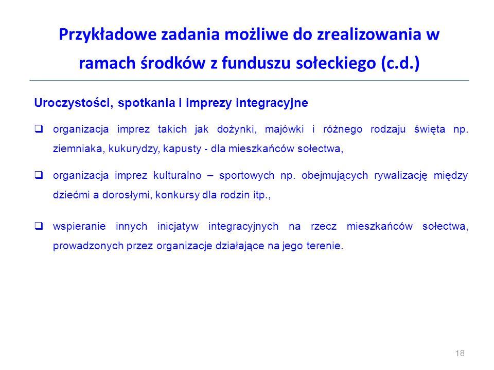 Przykładowe zadania możliwe do zrealizowania w ramach środków z funduszu sołeckiego (c.d.)