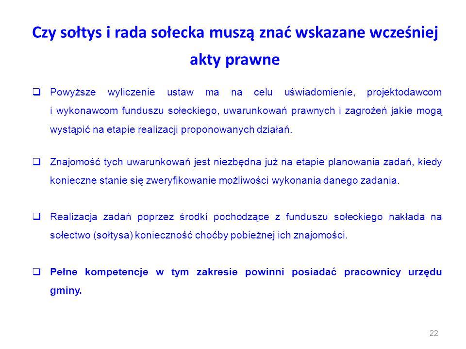 Czy sołtys i rada sołecka muszą znać wskazane wcześniej akty prawne