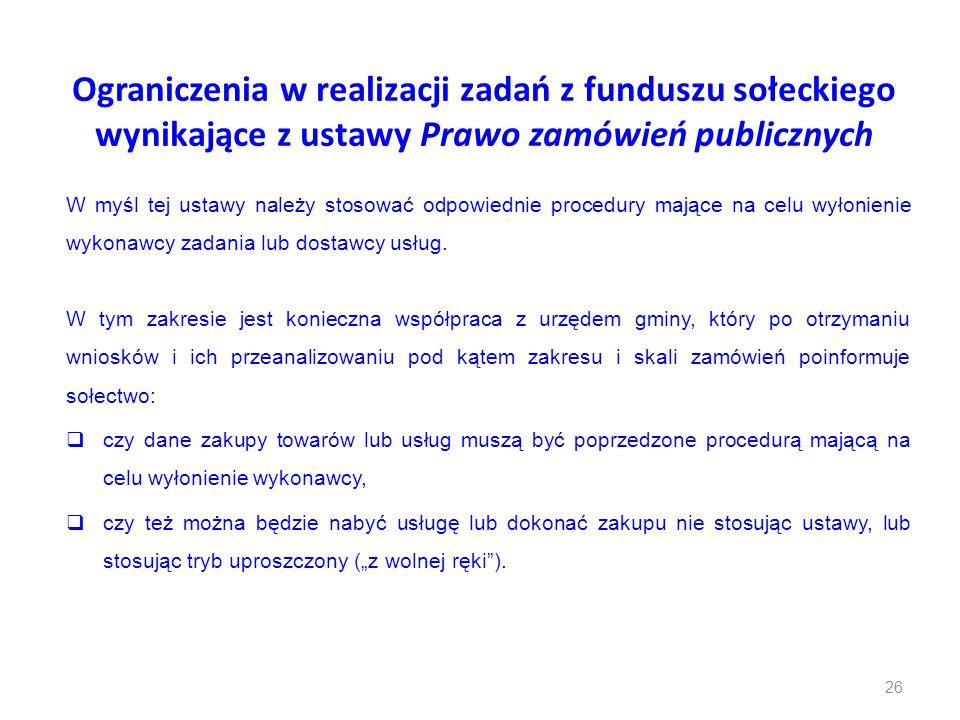 Ograniczenia w realizacji zadań z funduszu sołeckiego wynikające z ustawy Prawo zamówień publicznych