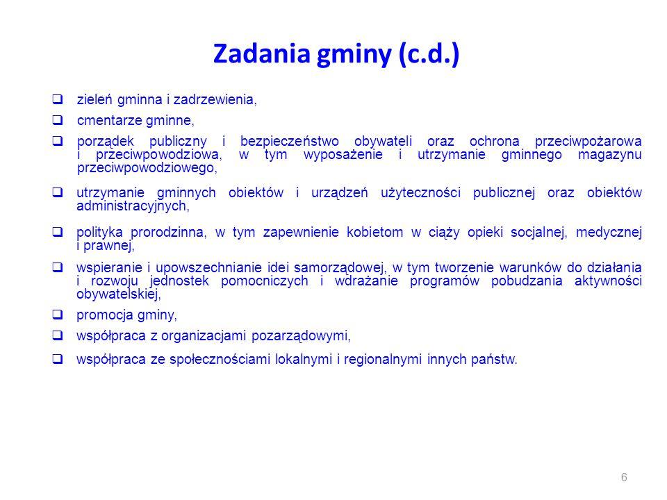 Zadania gminy (c.d.) zieleń gminna i zadrzewienia, cmentarze gminne,