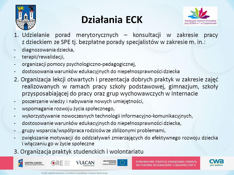 Działania ECK Udzielanie porad merytorycznych – konsultacji w zakresie pracy z dzieckiem ze SPE tj. bezpłatne porady specjalistów w zakresie m. in.: