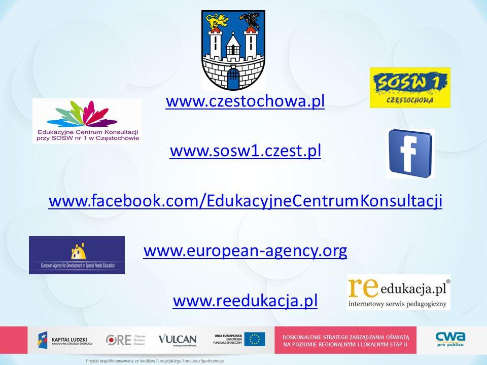 www.czestochowa.pl www.sosw1.czest.pl. www.facebook.com/EdukacyjneCentrumKonsultacji. www.european-agency.org.
