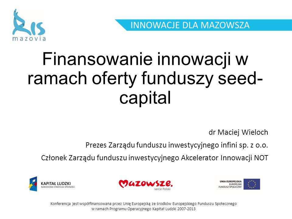 Finansowanie innowacji w ramach oferty funduszy seed-capital