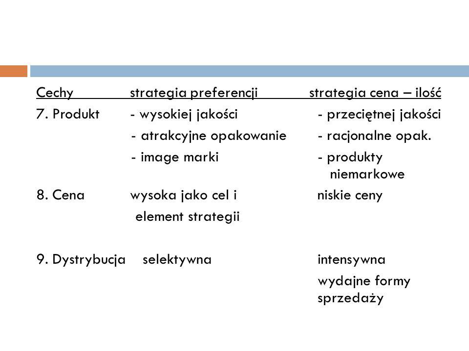 Cechy strategia preferencji strategia cena – ilość 7