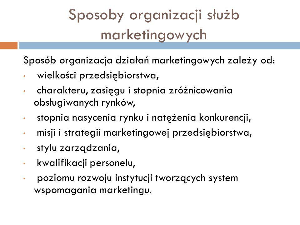 Sposoby organizacji służb marketingowych