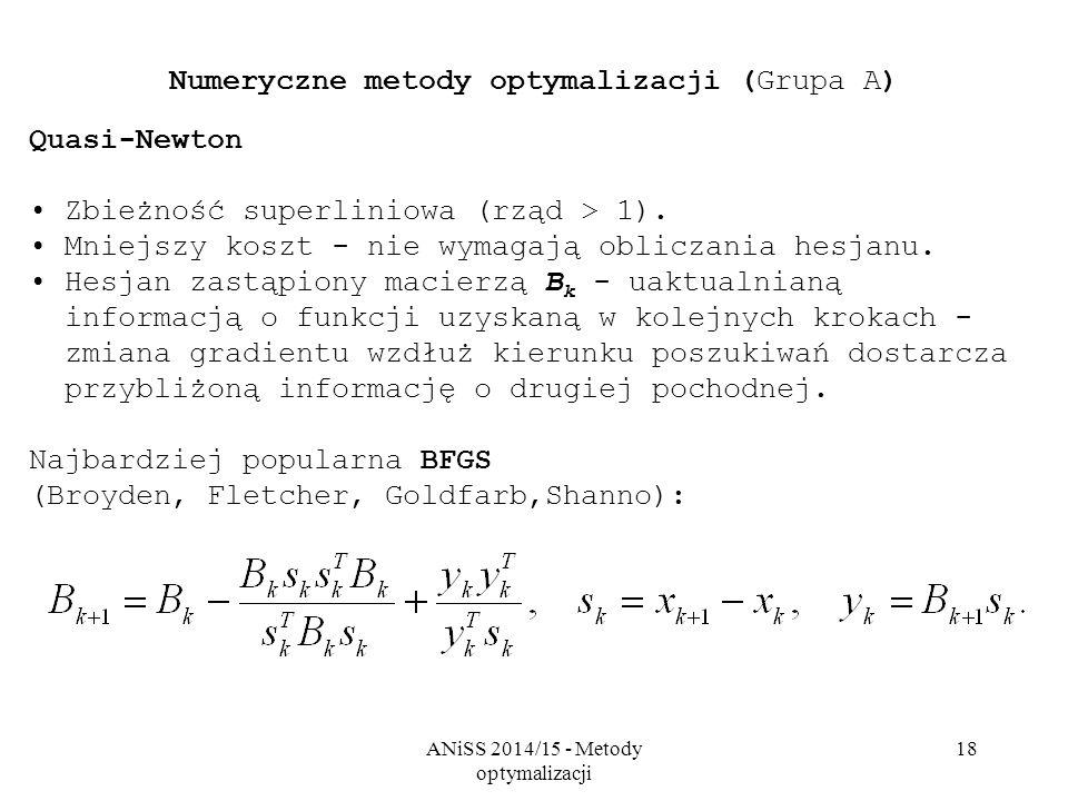 Numeryczne metody optymalizacji (Grupa A)