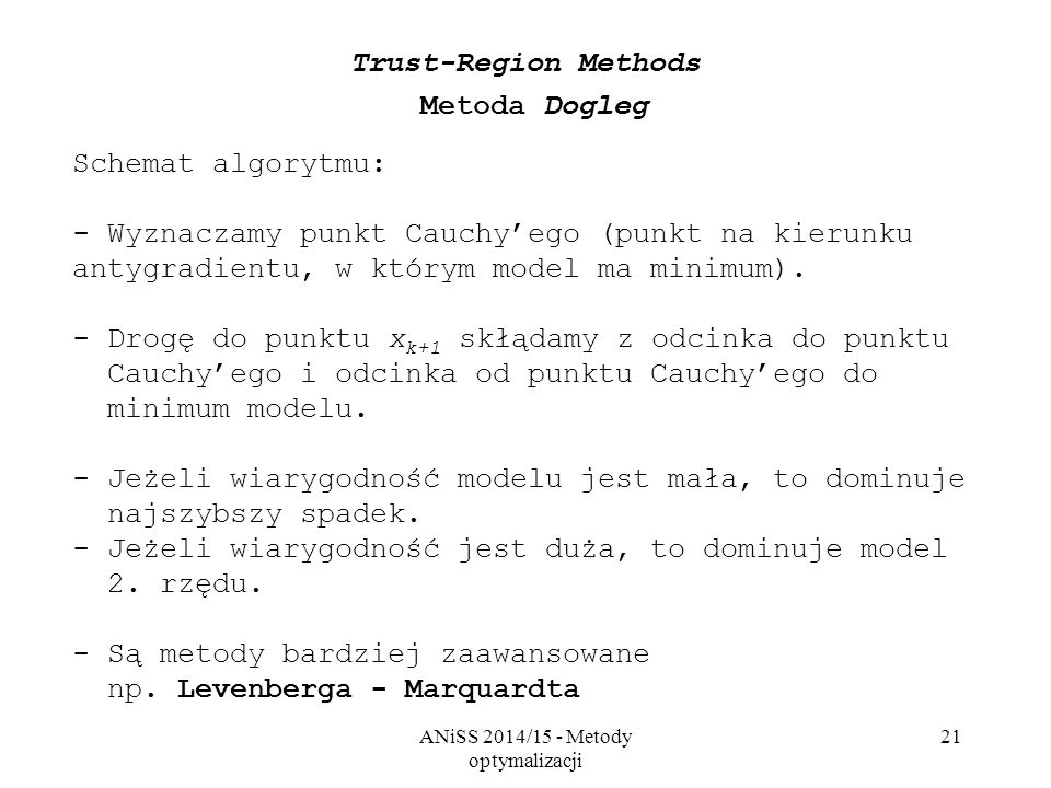 Trust-Region Methods Metoda Dogleg