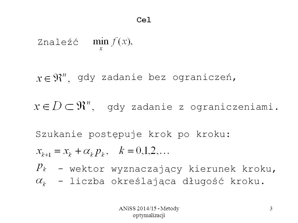ANiSS 2014/15 - Metody optymalizacji