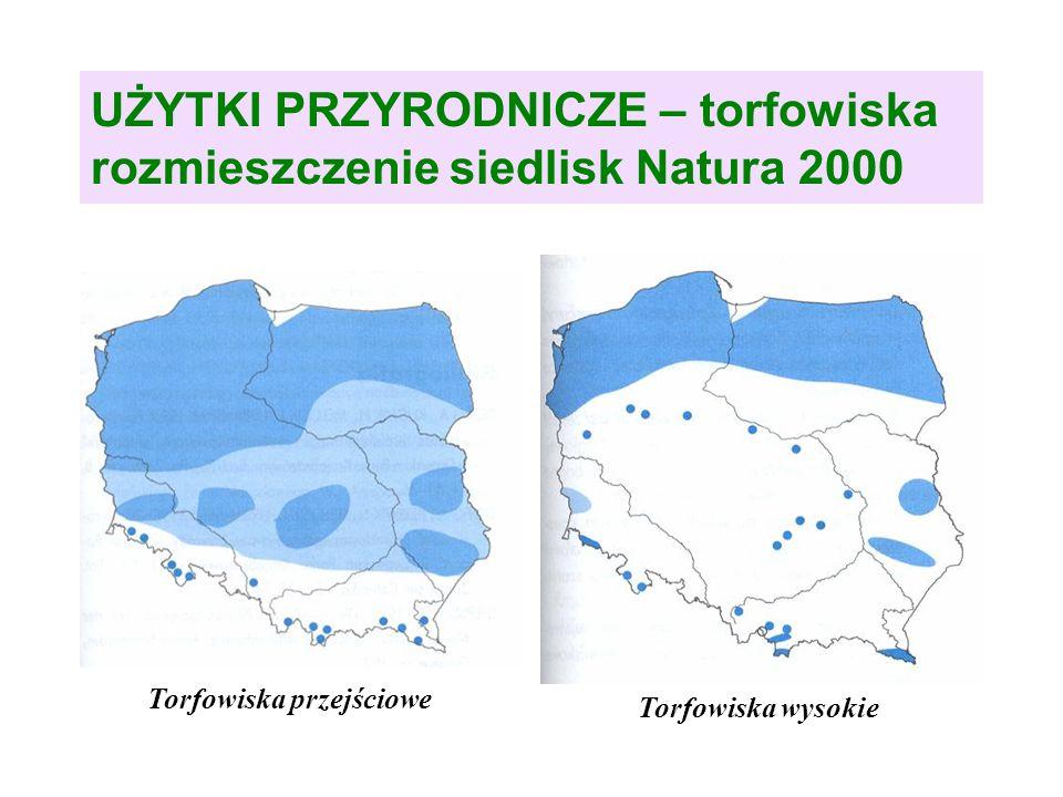 UŻYTKI PRZYRODNICZE – torfowiska rozmieszczenie siedlisk Natura 2000