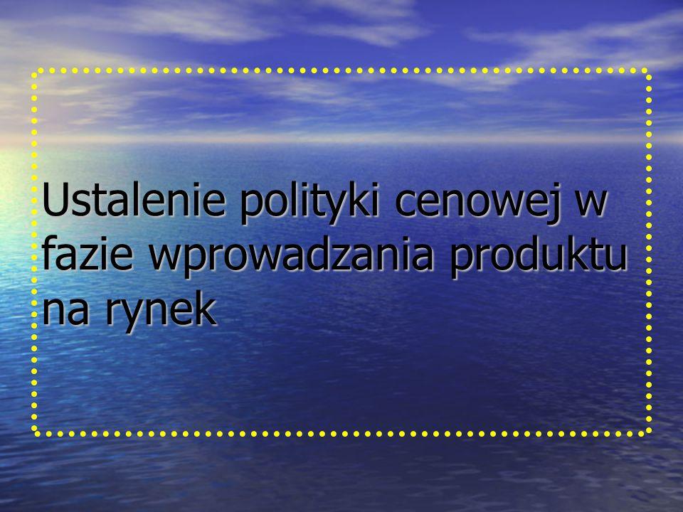 Ustalenie polityki cenowej w fazie wprowadzania produktu na rynek