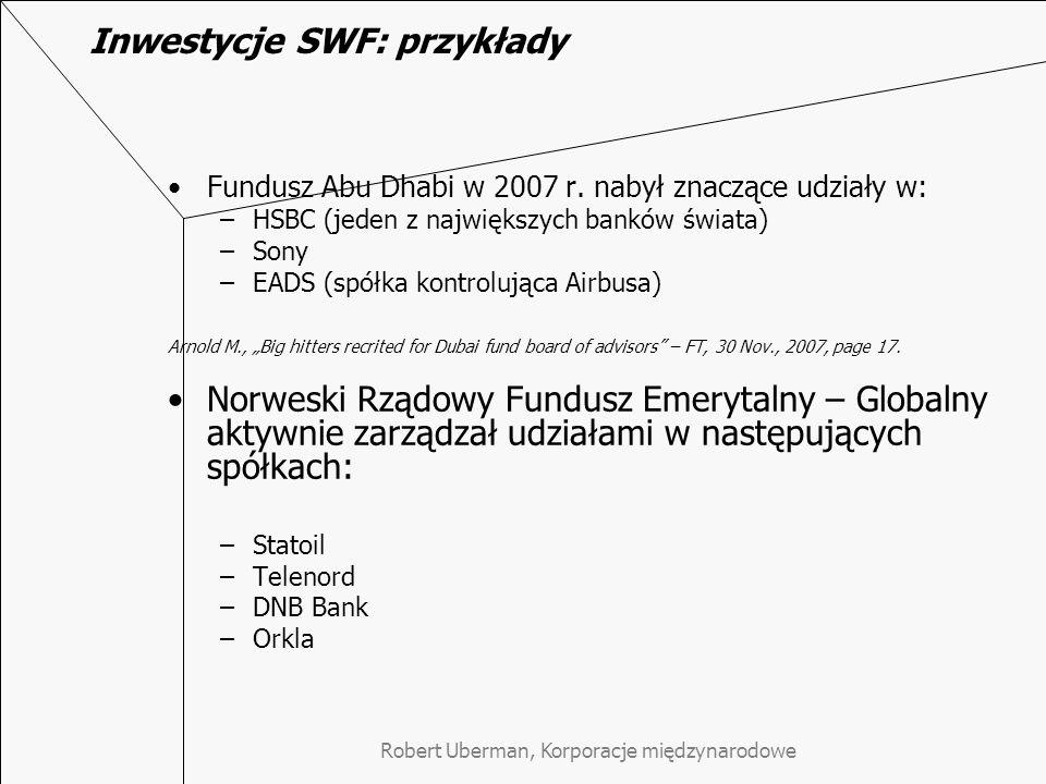 Inwestycje SWF: przykłady