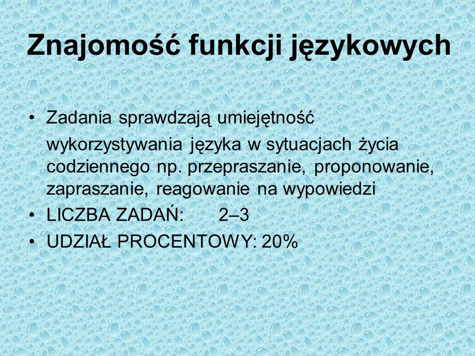 Znajomość funkcji językowych