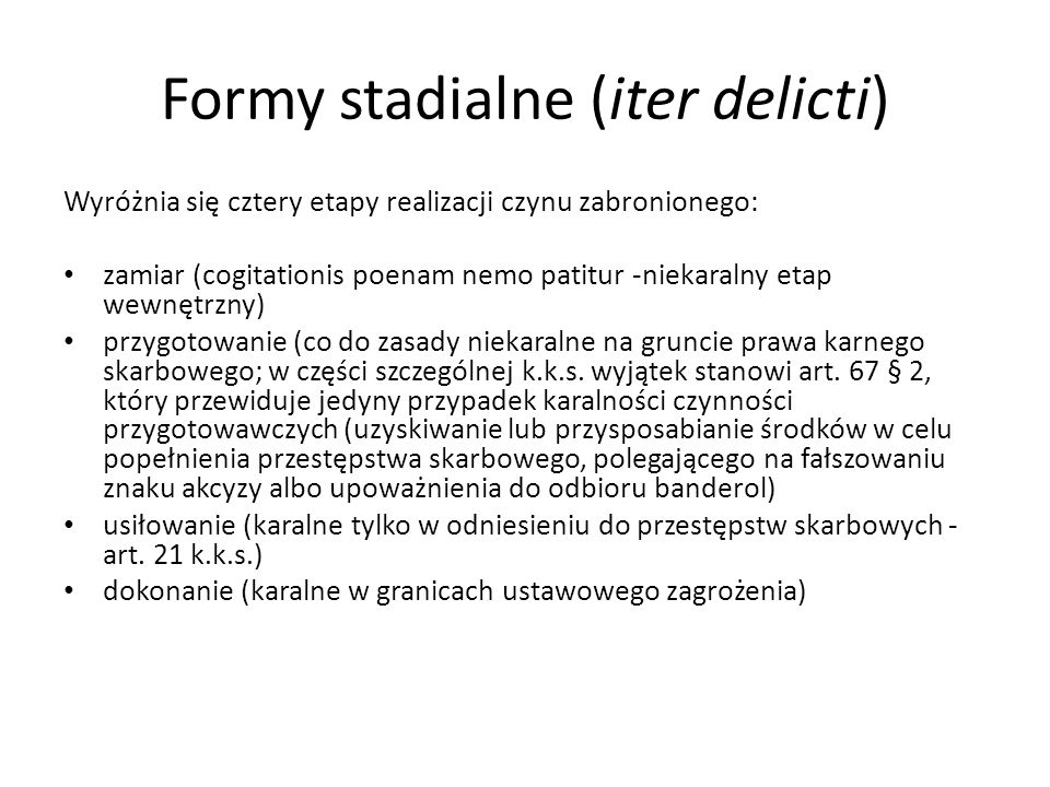 Formy stadialne (iter delicti)