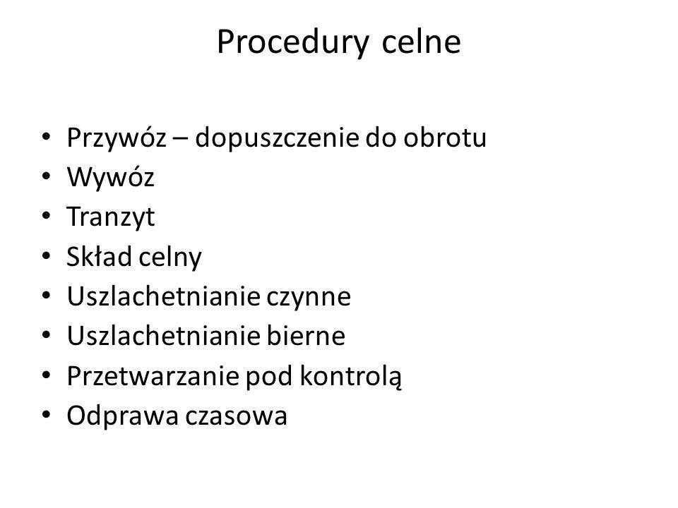 Procedury celne Przywóz – dopuszczenie do obrotu Wywóz Tranzyt