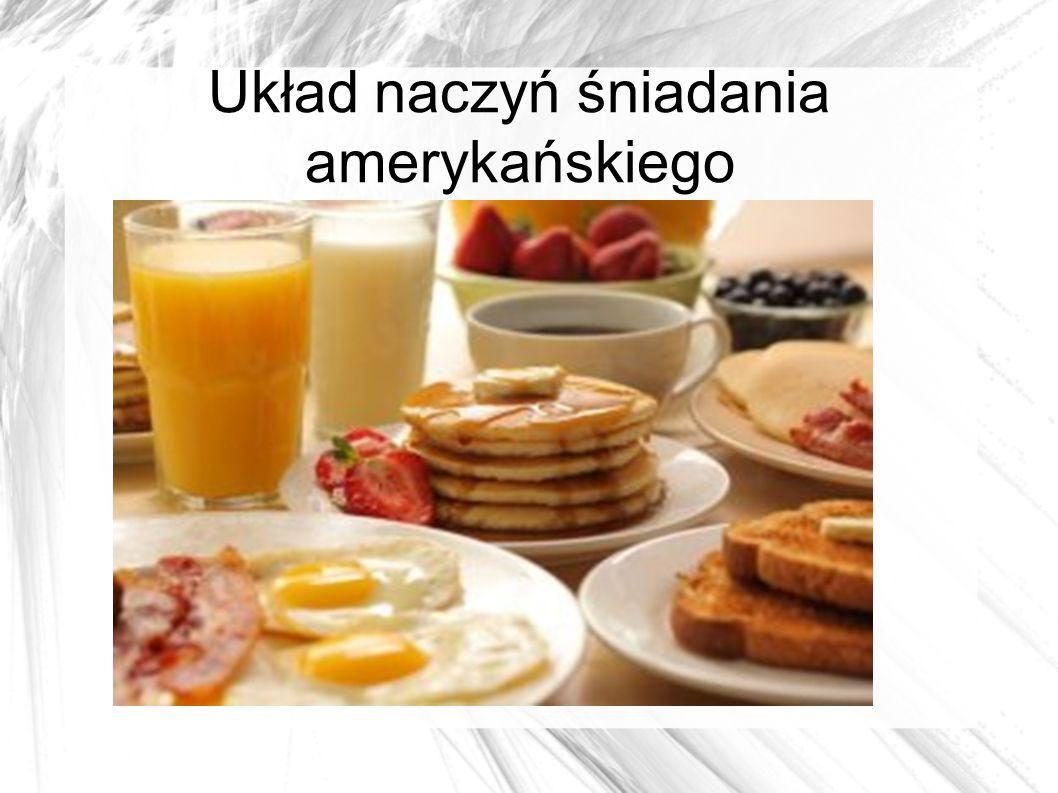 Układ naczyń śniadania amerykańskiego