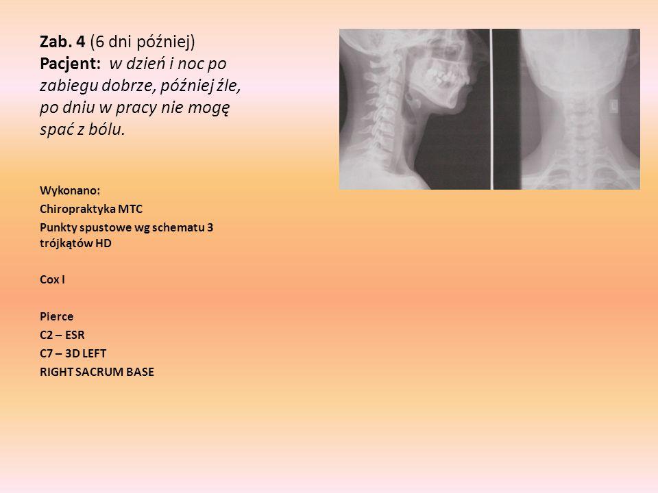Zab. 4 (6 dni później) Pacjent: w dzień i noc po zabiegu dobrze, później źle, po dniu w pracy nie mogę spać z bólu.