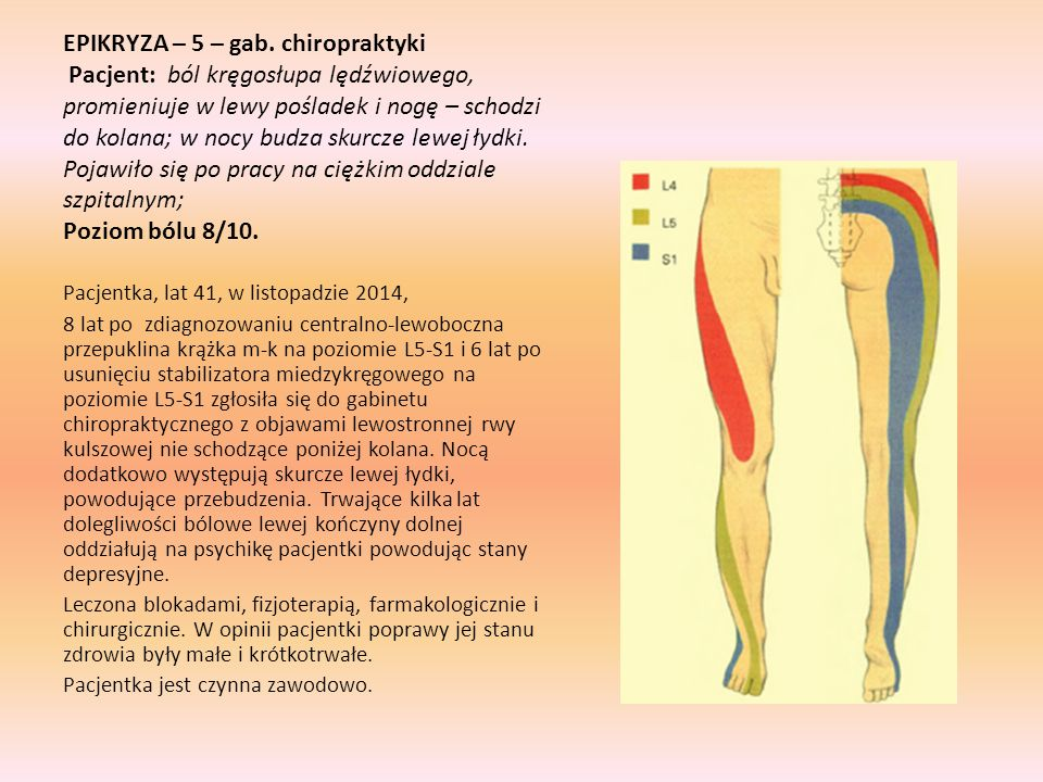 EPIKRYZA – 5 – gab. chiropraktyki Pacjent: ból kręgosłupa lędźwiowego, promieniuje w lewy pośladek i nogę – schodzi do kolana; w nocy budza skurcze lewej łydki. Pojawiło się po pracy na ciężkim oddziale szpitalnym; Poziom bólu 8/10.