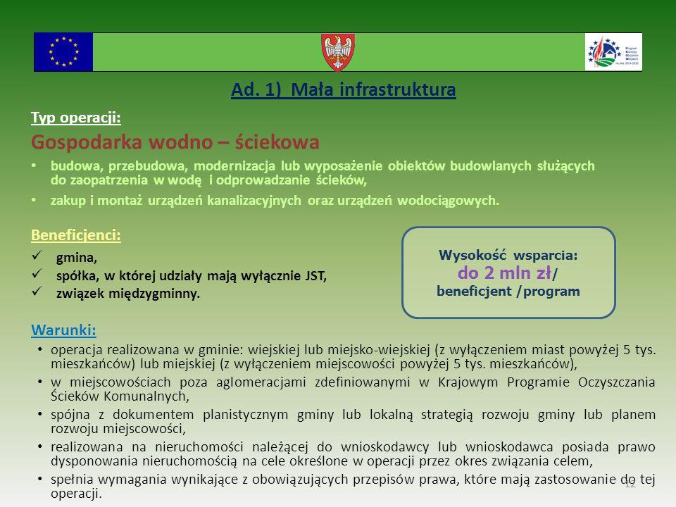 Ad. 1) Mała infrastruktura