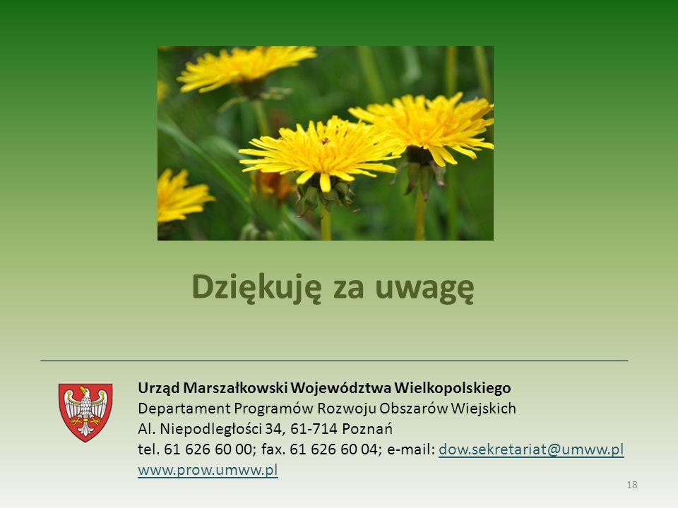 Dziękuję za uwagę Urząd Marszałkowski Województwa Wielkopolskiego