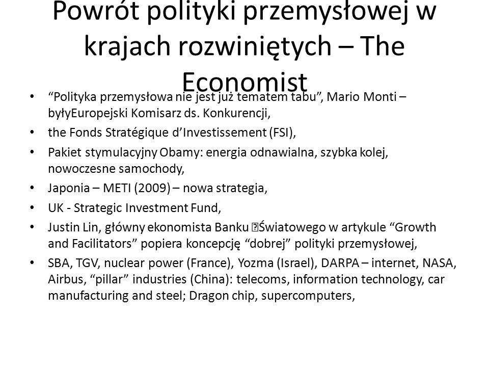 Powrót polityki przemysłowej w krajach rozwiniętych – The Economist