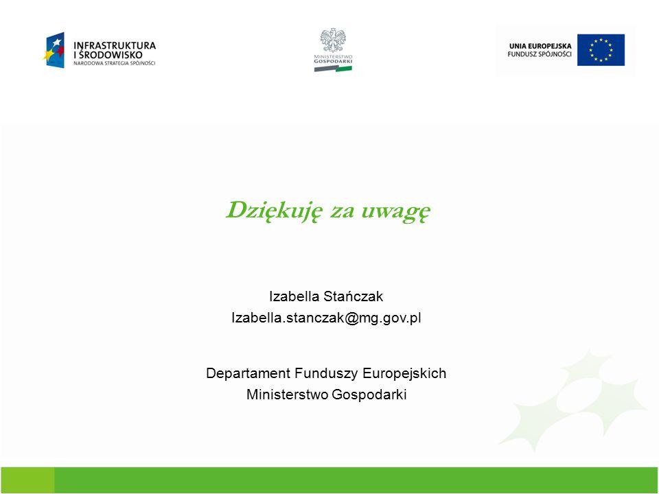 Dziękuję za uwagę Izabella Stańczak Izabella.stanczak@mg.gov.pl