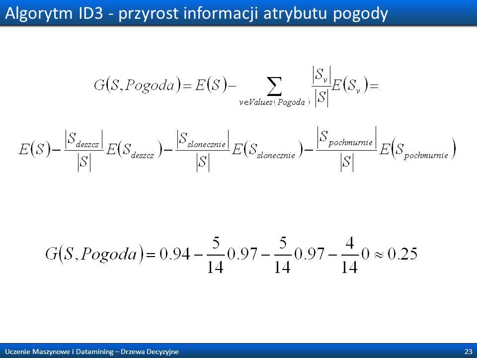 Algorytm ID3 - przyrost informacji atrybutu pogody
