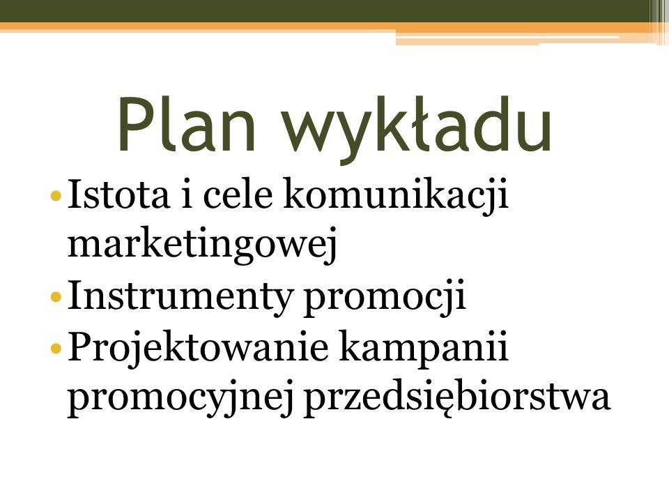 Plan wykładu Istota i cele komunikacji marketingowej