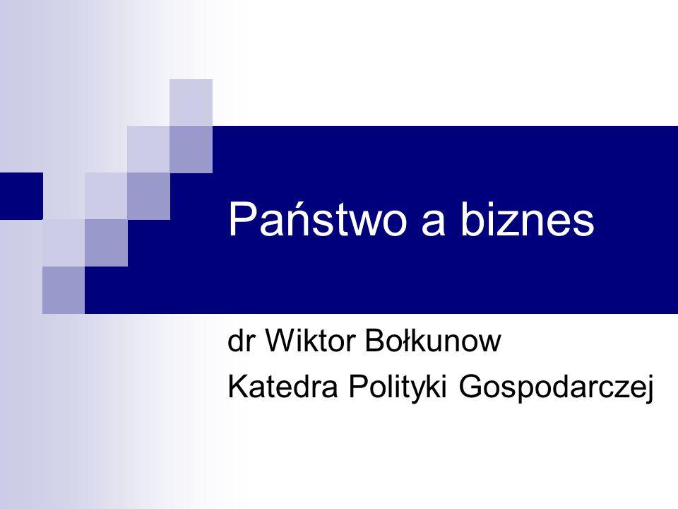 dr Wiktor Bołkunow Katedra Polityki Gospodarczej