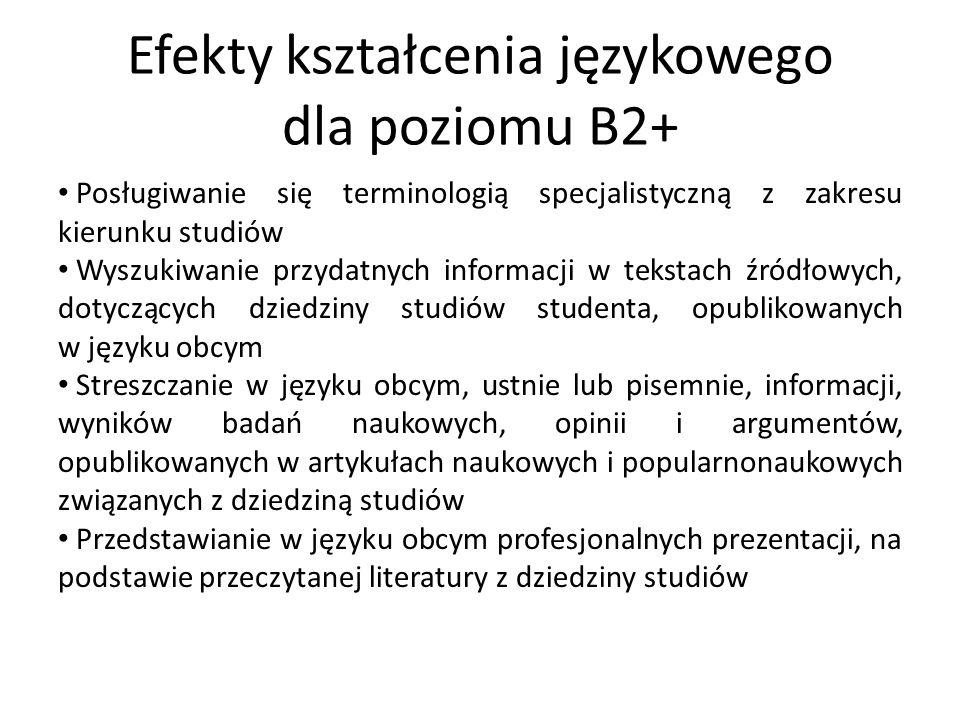 Efekty kształcenia językowego dla poziomu B2+