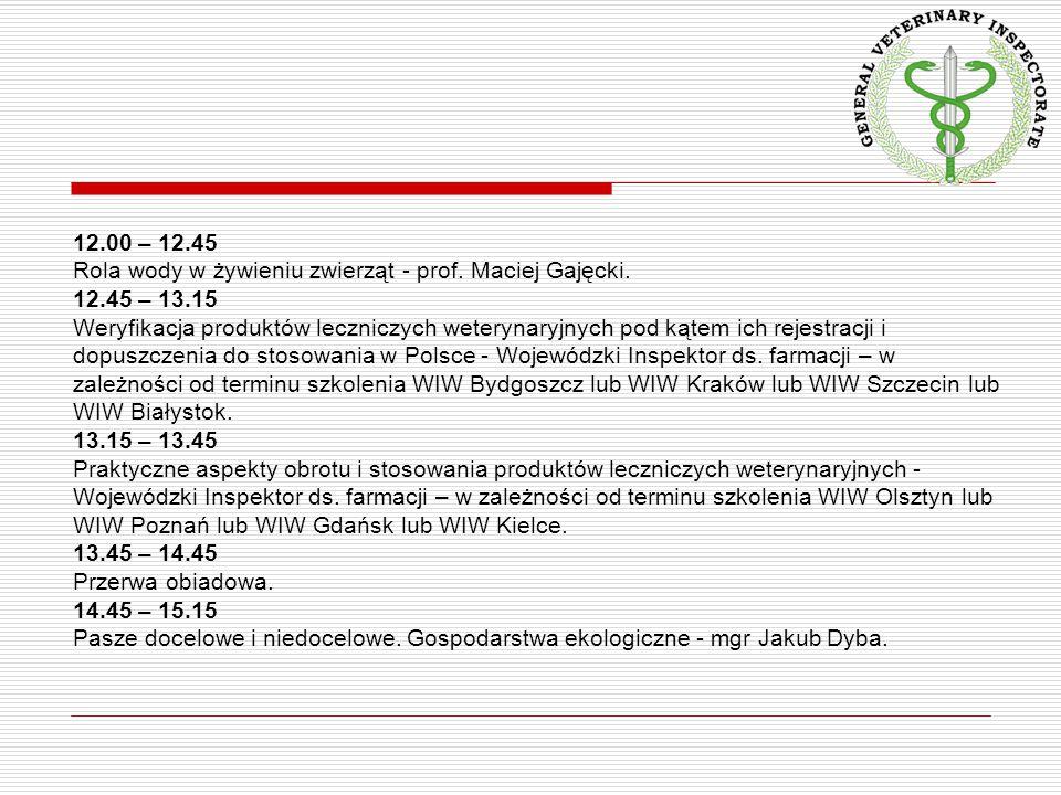 12.00 – 12.45 Rola wody w żywieniu zwierząt - prof. Maciej Gajęcki. 12.45 – 13.15.