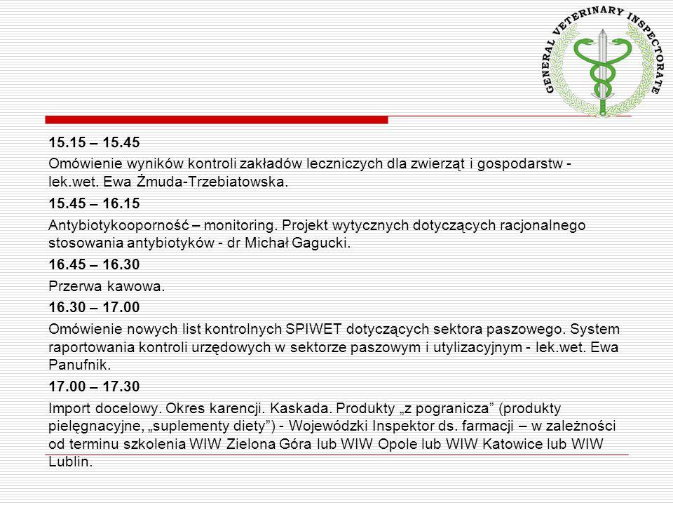15.15 – 15.45 Omówienie wyników kontroli zakładów leczniczych dla zwierząt i gospodarstw - lek.wet.