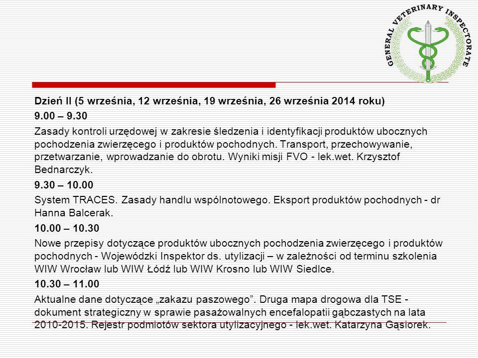 Dzień II (5 września, 12 września, 19 września, 26 września 2014 roku) 9.00 – 9.30 Zasady kontroli urzędowej w zakresie śledzenia i identyfikacji produktów ubocznych pochodzenia zwierzęcego i produktów pochodnych.