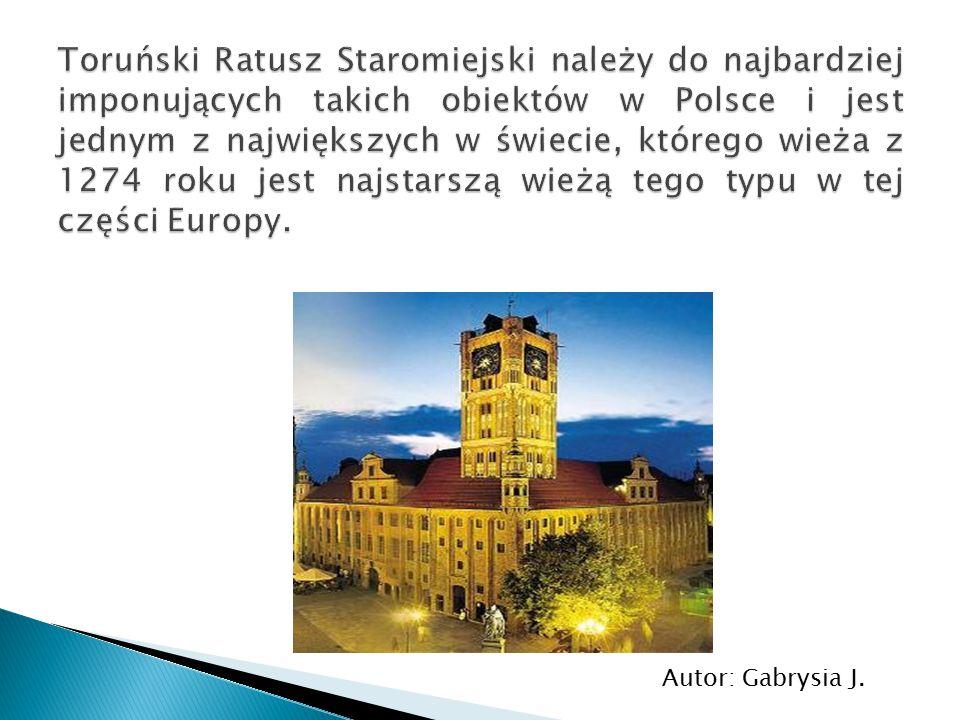 Toruński Ratusz Staromiejski należy do najbardziej imponujących takich obiektów w Polsce i jest jednym z największych w świecie, którego wieża z 1274 roku jest najstarszą wieżą tego typu w tej części Europy.