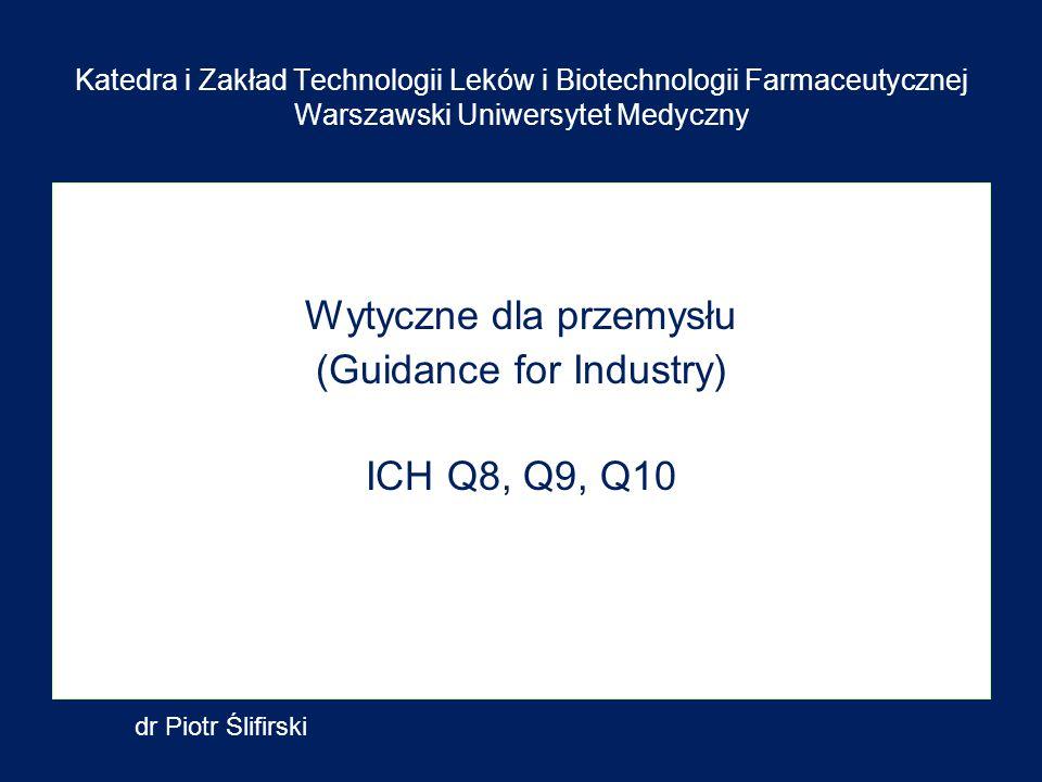 Wytyczne dla przemysłu (Guidance for Industry) ICH Q8, Q9, Q10