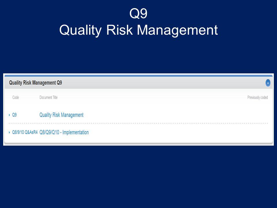Q9 Quality Risk Management