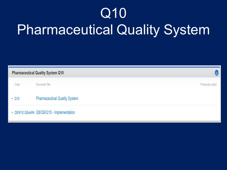 Q10 Pharmaceutical Quality System