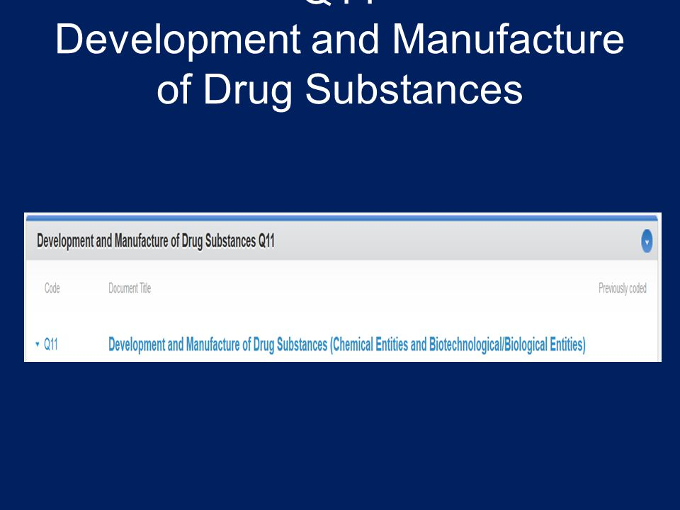 Q11 Development and Manufacture of Drug Substances