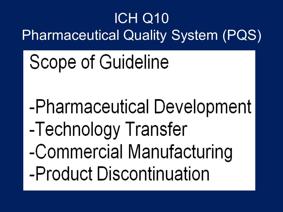 ICH Q10 Pharmaceutical Quality System (PQS)