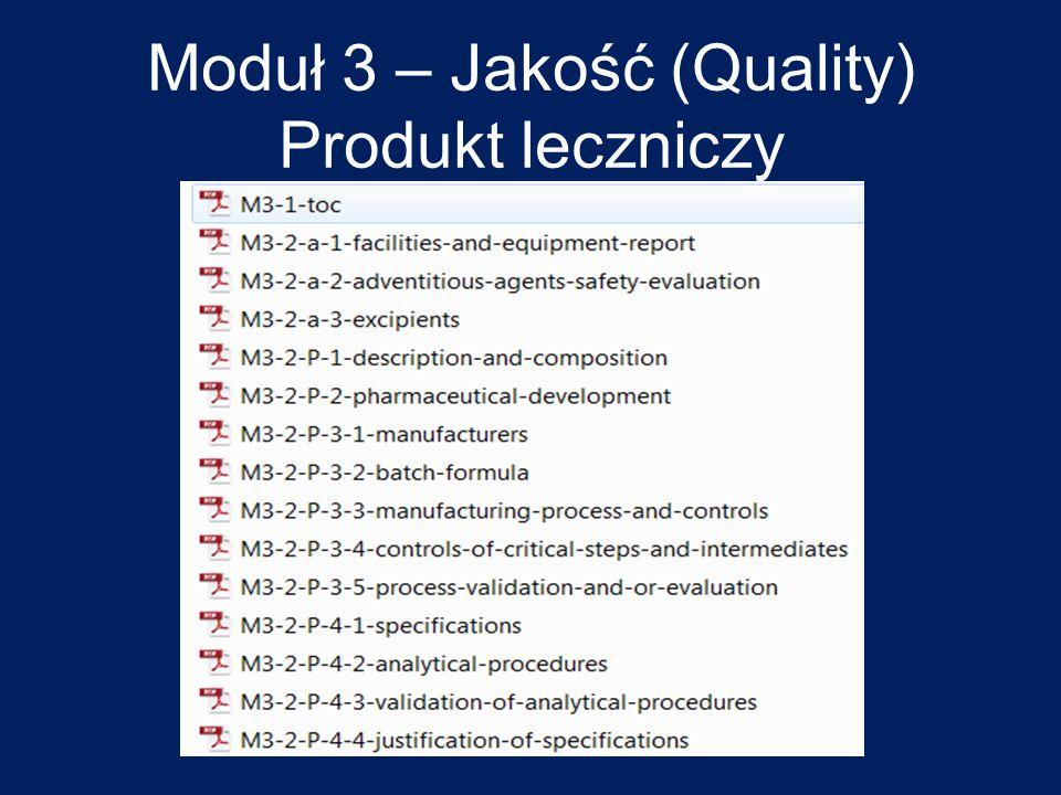 Moduł 3 – Jakość (Quality) Produkt leczniczy