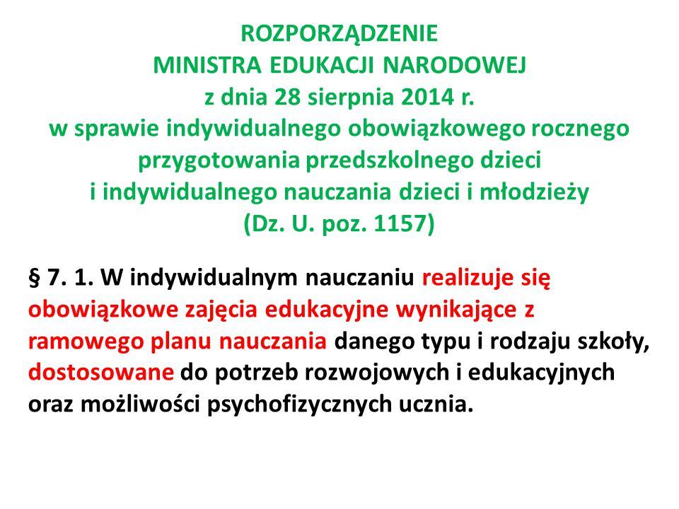 ROZPORZĄDZENIE MINISTRA EDUKACJI NARODOWEJ z dnia 28 sierpnia 2014 r