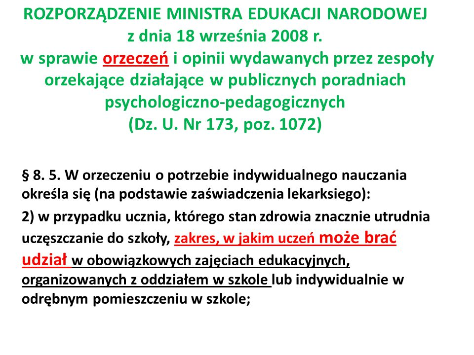 ROZPORZĄDZENIE MINISTRA EDUKACJI NARODOWEJ z dnia 18 września 2008 r