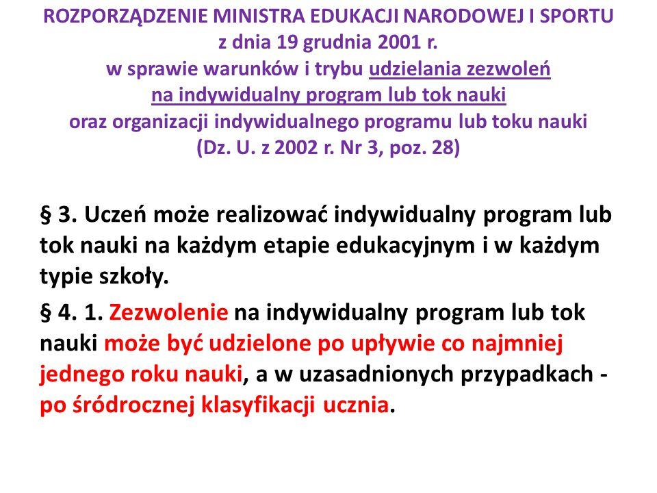 ROZPORZĄDZENIE MINISTRA EDUKACJI NARODOWEJ I SPORTU z dnia 19 grudnia 2001 r. w sprawie warunków i trybu udzielania zezwoleń na indywidualny program lub tok nauki oraz organizacji indywidualnego programu lub toku nauki (Dz. U. z 2002 r. Nr 3, poz. 28)
