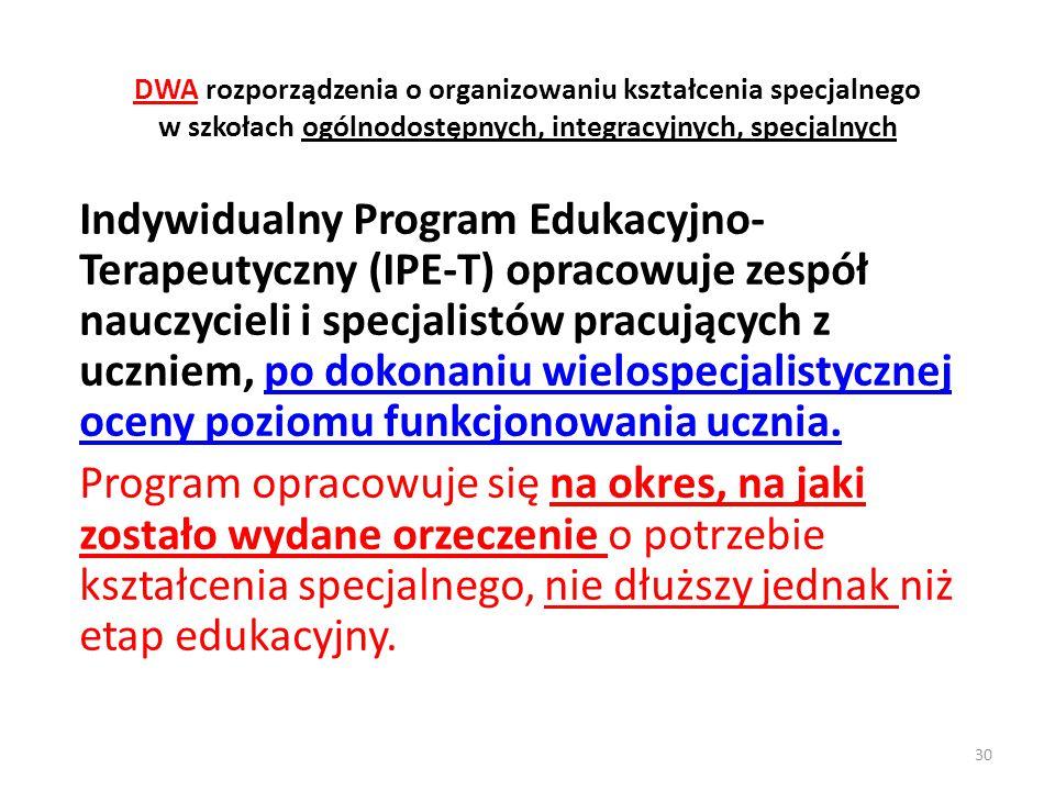 DWA rozporządzenia o organizowaniu kształcenia specjalnego w szkołach ogólnodostępnych, integracyjnych, specjalnych