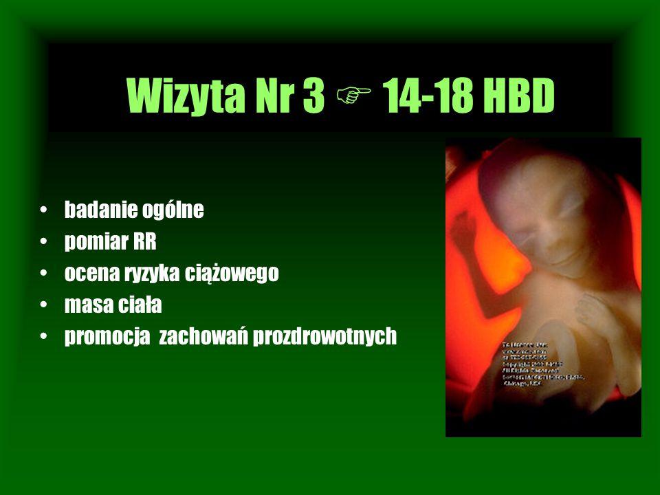 Wizyta Nr 3  14-18 HBD Wizyta Nr 1 badanie ogólne pomiar RR