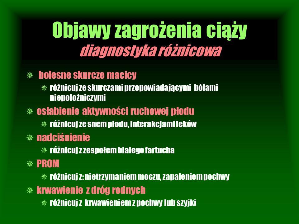 Objawy zagrożenia ciąży diagnostyka różnicowa