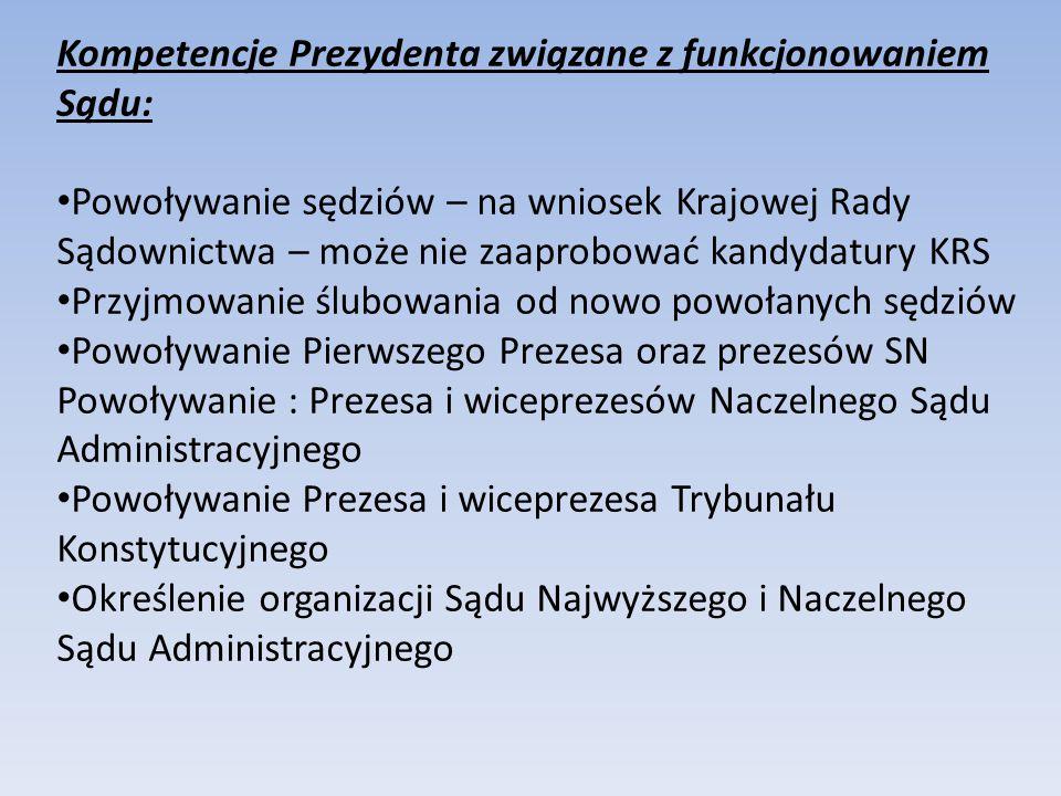 Kompetencje Prezydenta związane z funkcjonowaniem Sądu: