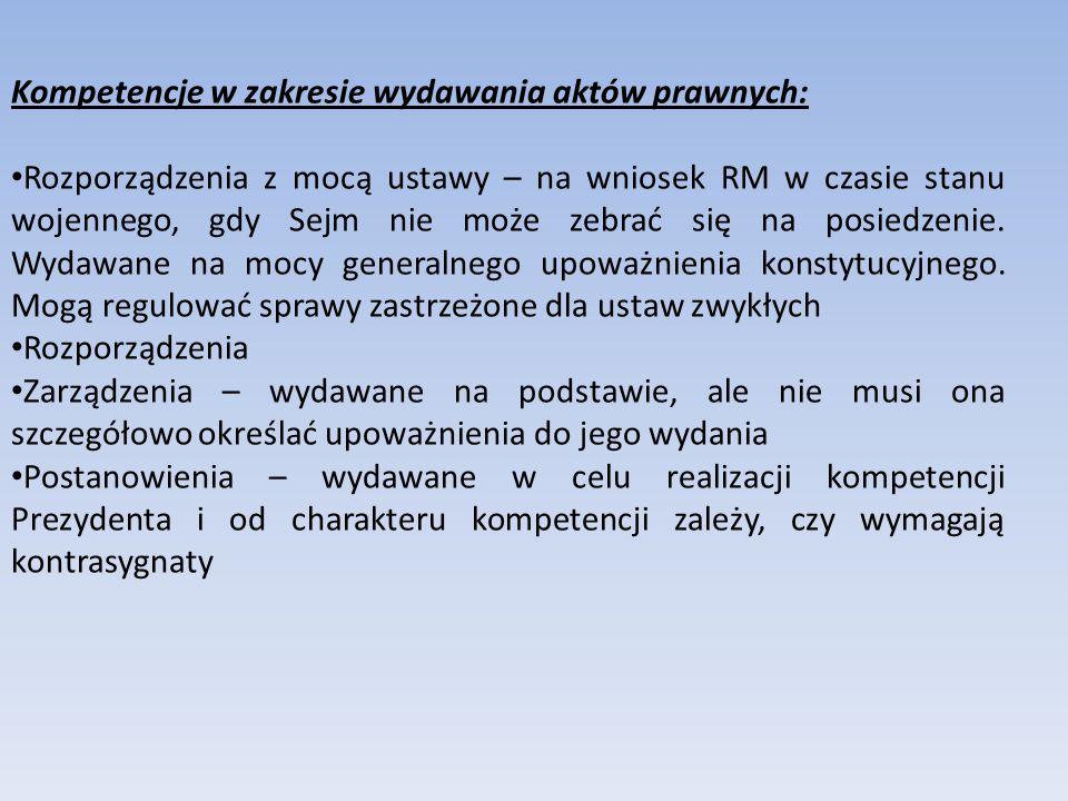 Kompetencje w zakresie wydawania aktów prawnych: